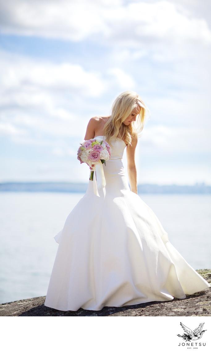 West Vancouver wedding portrait bride Lighthouse Park