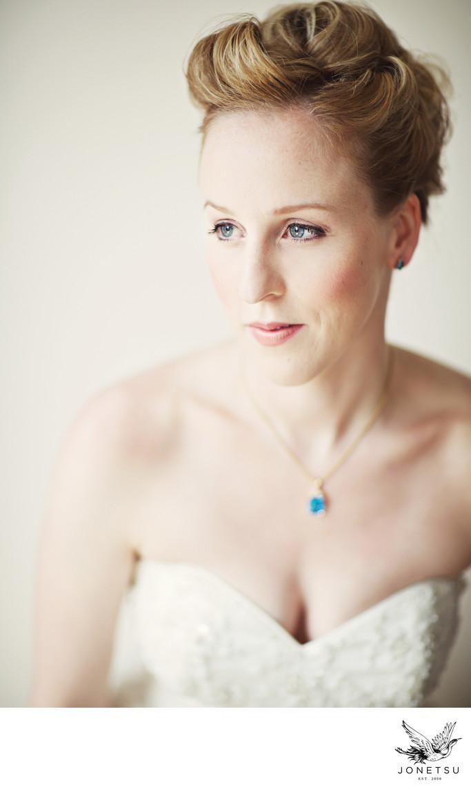 Bridal portrait window light film look Vancouver