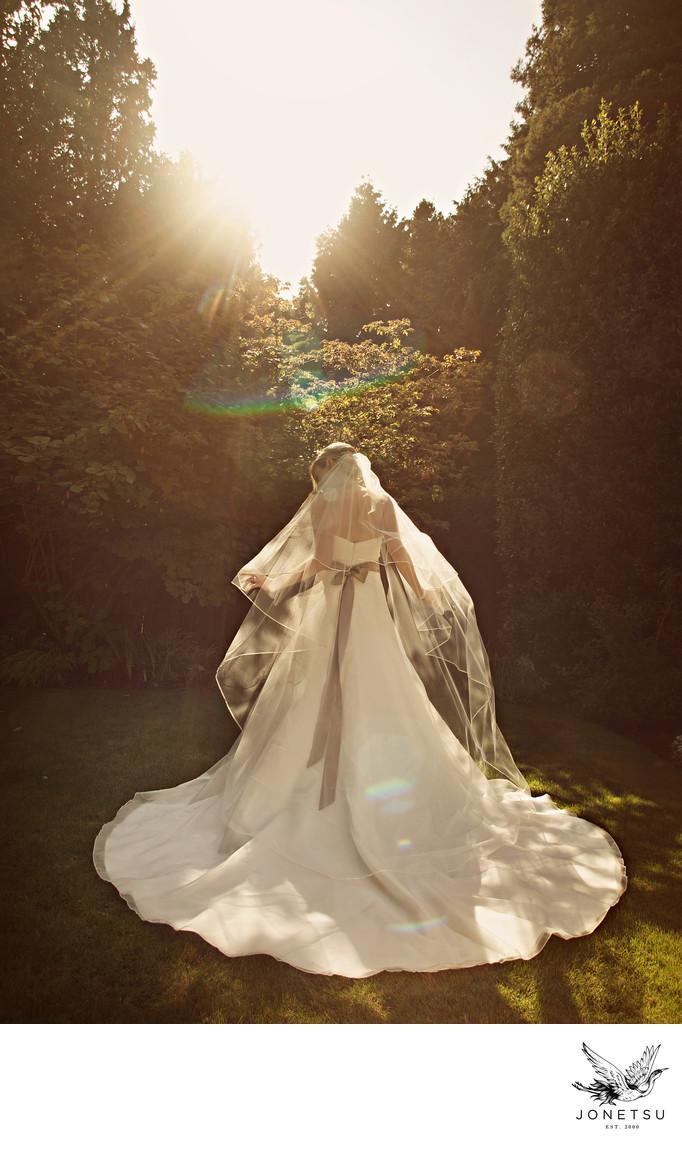 Vera Wang bridal portrait with veil backlit Vancouver