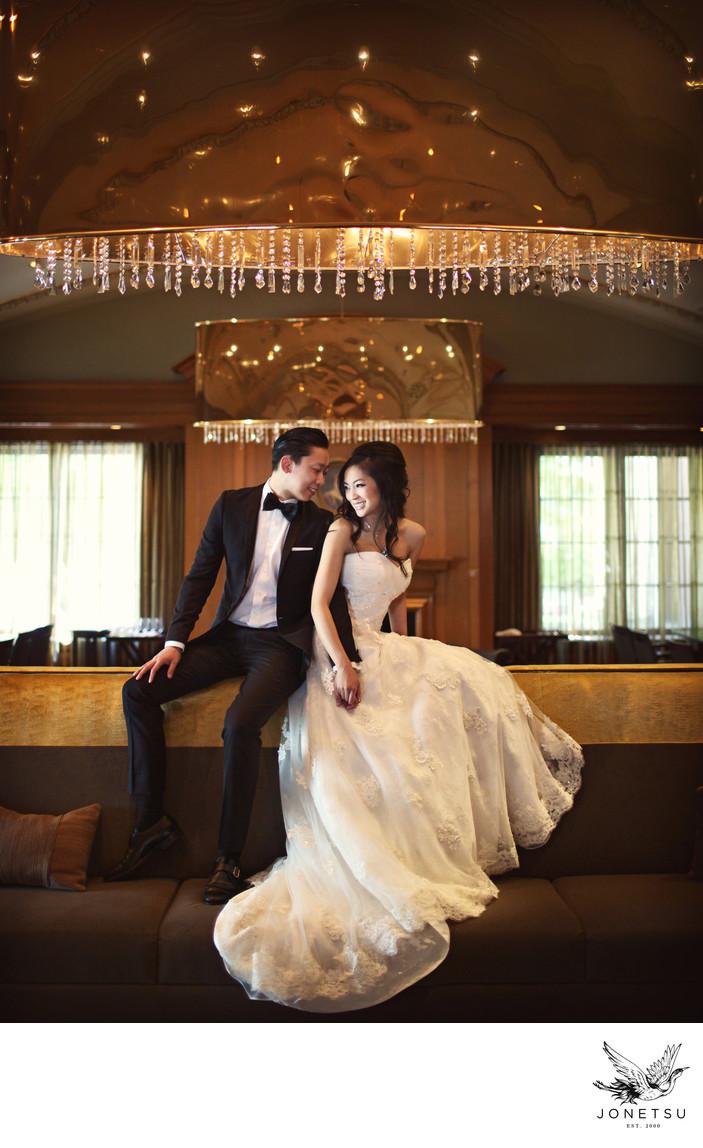 Golden bar wedding photo Vancouver Club