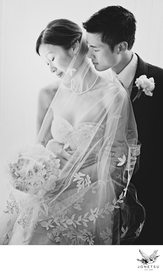 Vancouver club wedding portrait window Vera Wang