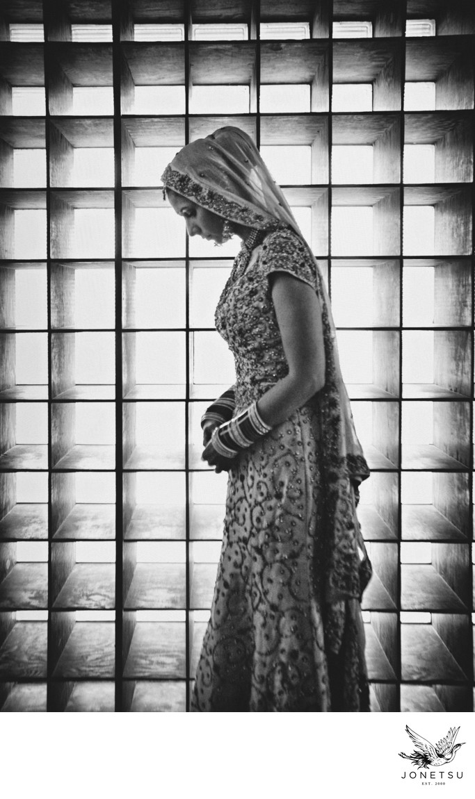 South Asian bride just before wedding ceremony portrait