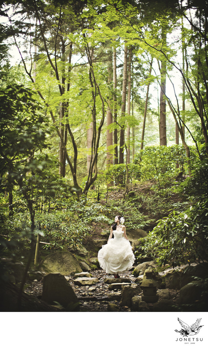 Nitobe gardens bridal portrait with forest and rocks