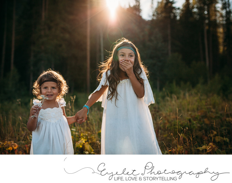 Sisters in Golden Hour Lifestyle Family Photography