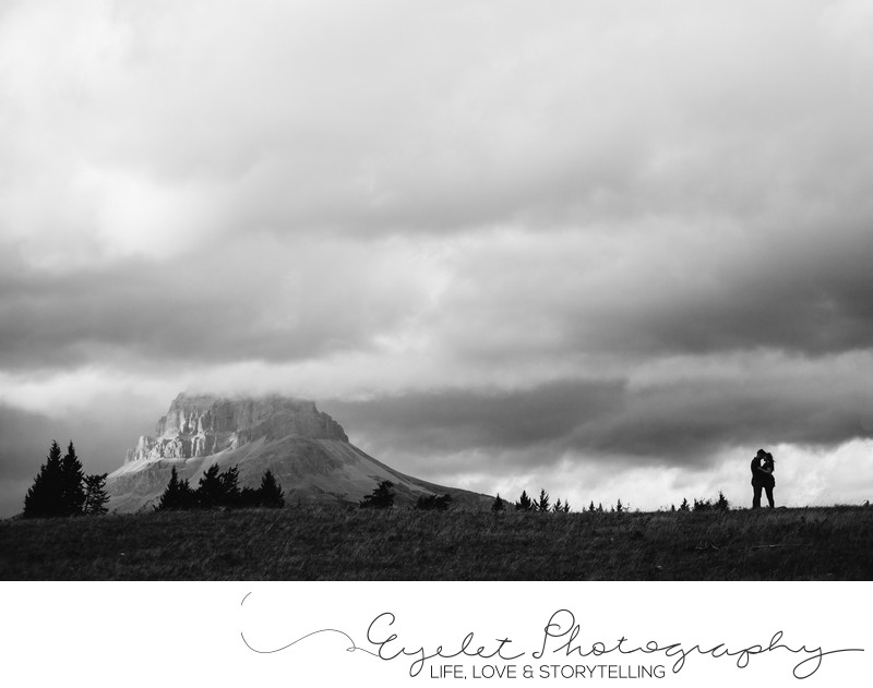 Crowsnest Mountain Wedding Photos Black and White