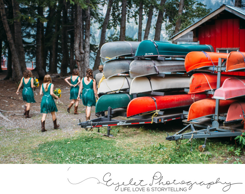 Bridal Party With Canoes Crowsnest Lake Bible Camp