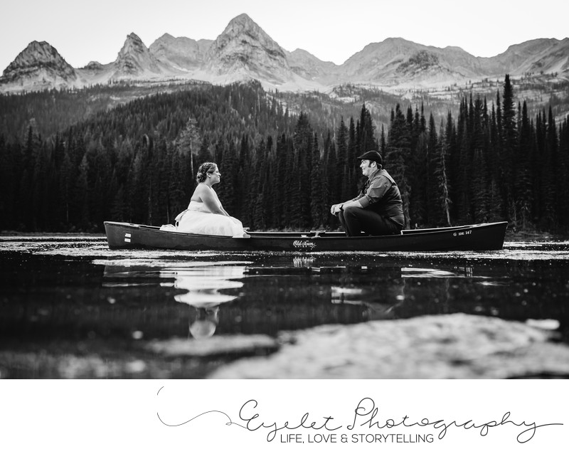 Island Lake Lodge Canoe Wedding Photography Fernie