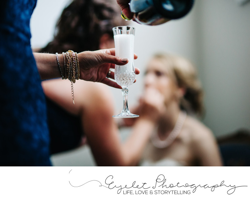 Bride Getting Ready Detail Wedding Photos with Champagne