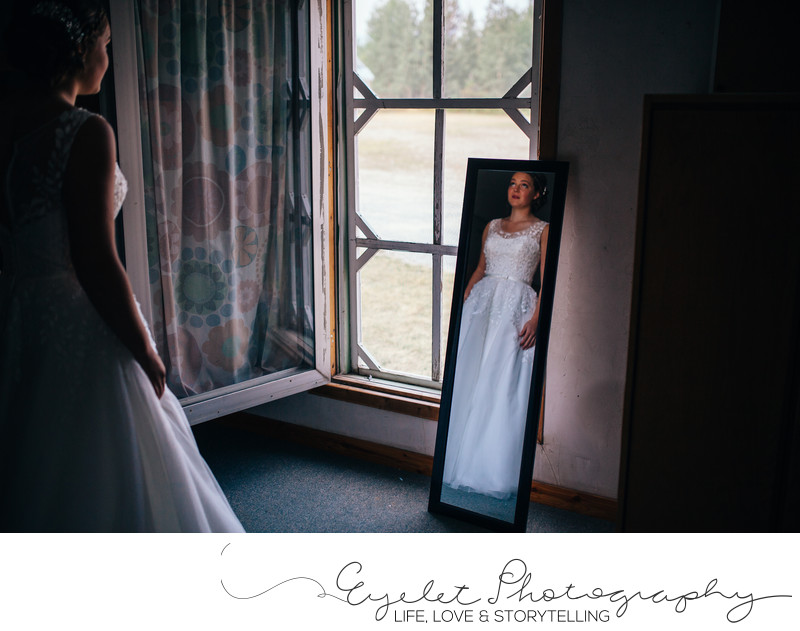 Bride Getting Ready Wedding Photography In Mirror