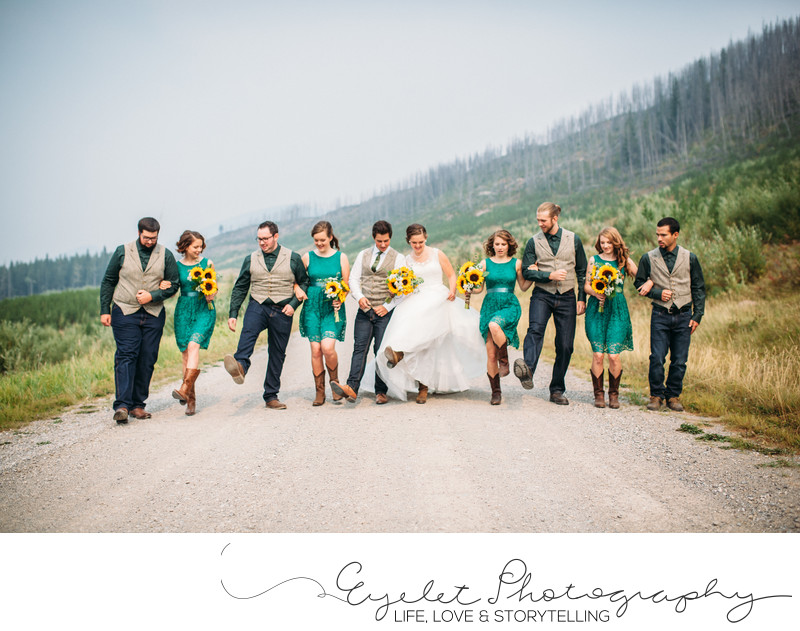 Wedding Party Photos Crowsnest Pass AB Sunflowers