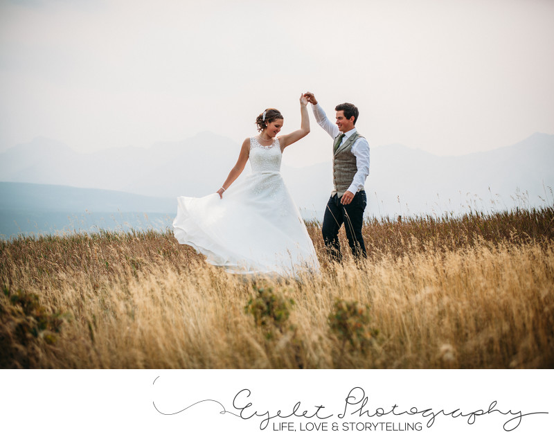 Crowsnest Pass Wedding Photos Bride & Groom Dancing