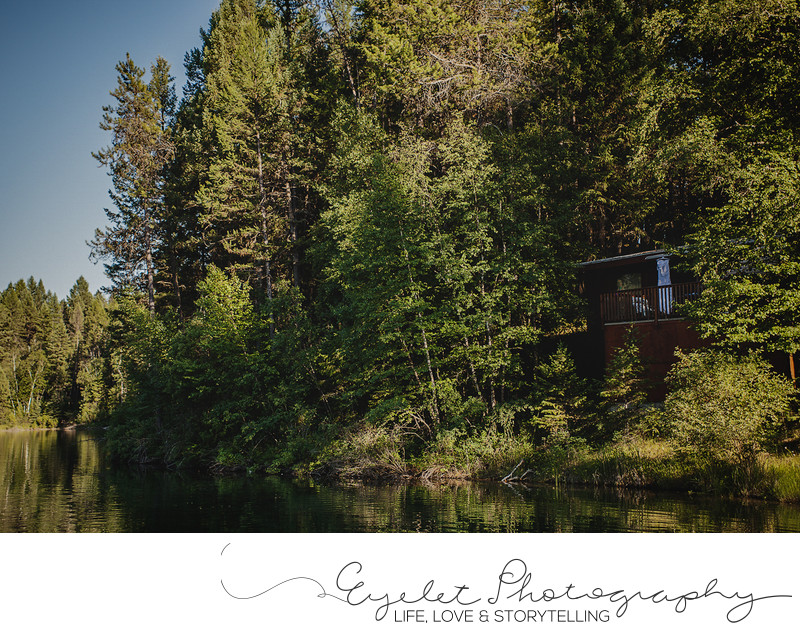 Wedding Dress Photography Outside Cabin Baynes Lake, BC