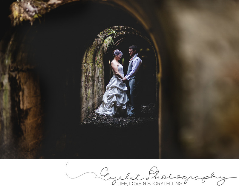 Fernie, BC Wedding Photos Bride and Groom in Tunnel