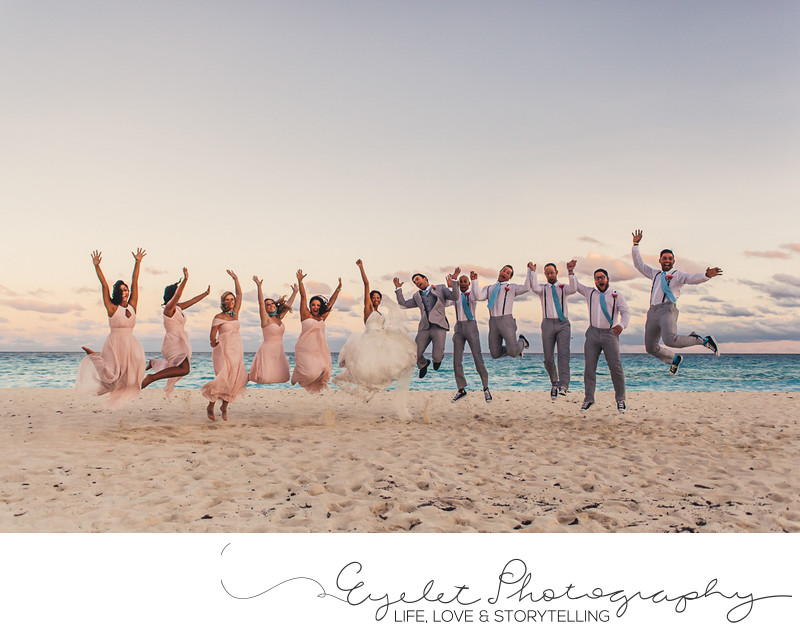 Destination Wedding Photographer Bridal Party on Beach