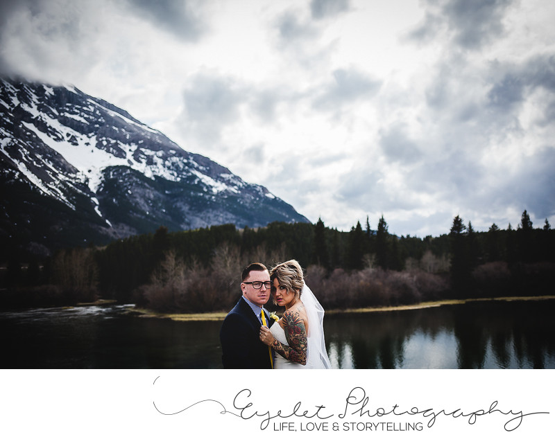 Croswnest Lake Wedding Photos Bride and Groom Portrait