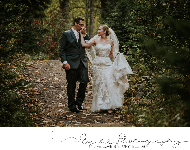 Bride and Groom Fernie Weddings Fall Leaves Photography