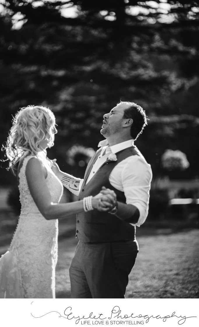Bride and Groom Dancing Spring Break Flower Farm Wedding