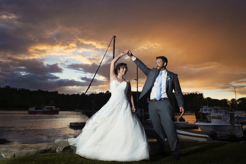 Nonantum Wedding Photographer Kim Chapman Captures Sunset shot