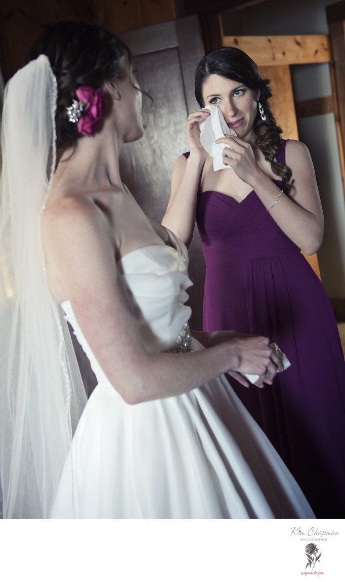 Bridemaid tears captured by Maine Wedding Photographer