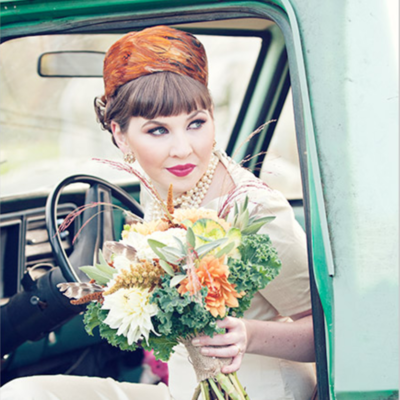 GIRL IN GREEN TRUCK FROM OUR RUSTIC GLAM STYLED SHOOT