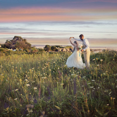 Nonantum Wedding Photographer captures sunset shot!
