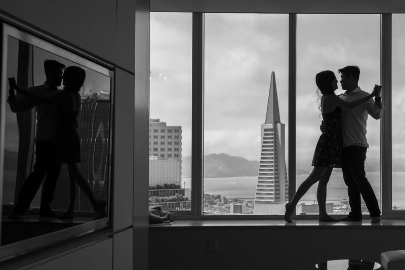 Transamerica North Beach San Francisco Engagement Photo