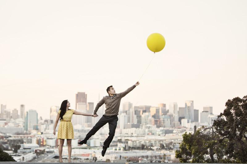 San Francisco Engagement Photographer Balloon Movie Up