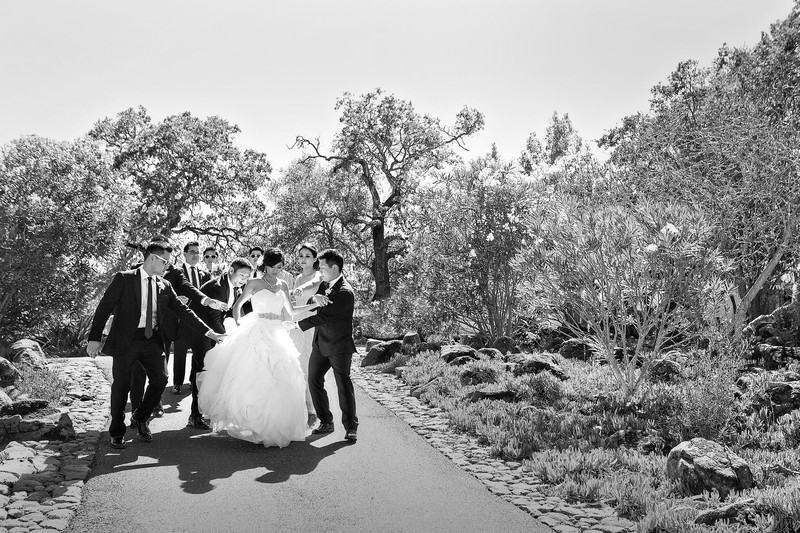 Memorable Wedding Moment Help Bride Walk Down Hill