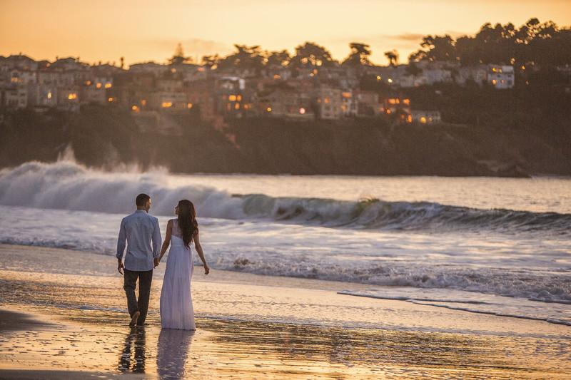 Romance Engagement Photography SF Baker Beach Sunset