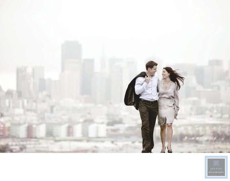 Potrero Hill San Francisco Skyline Engagement Photograph