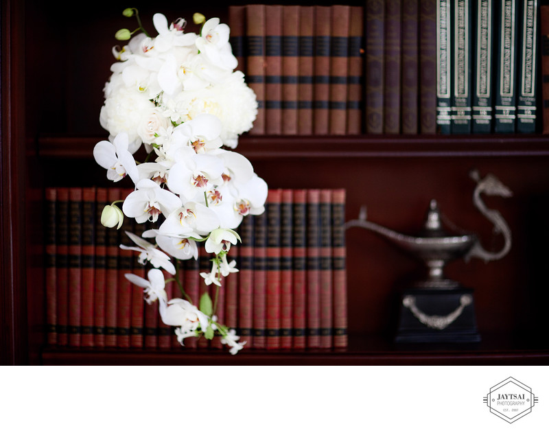 White Orchid Wedding Bouquet Book Shelf