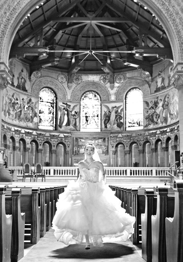 Stanford Memorial Church Bridal Running Down Aisle