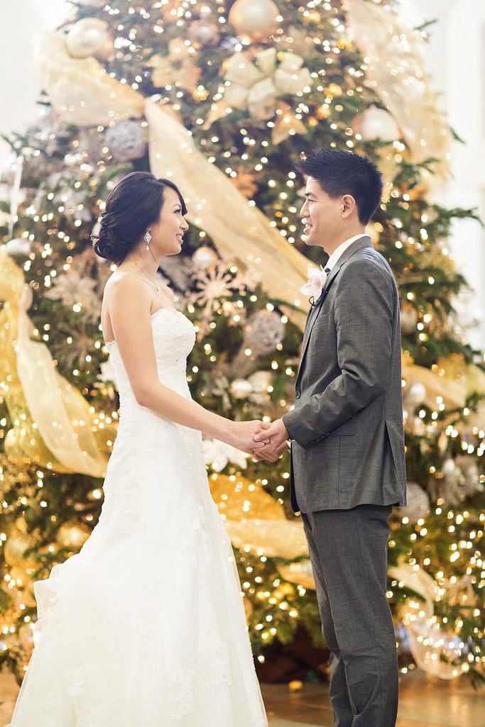 Christmas wedding bridal portrait Casa Real Winery