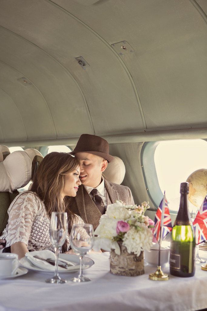 Vintage Airplane Travel Engagement Photography Oakland