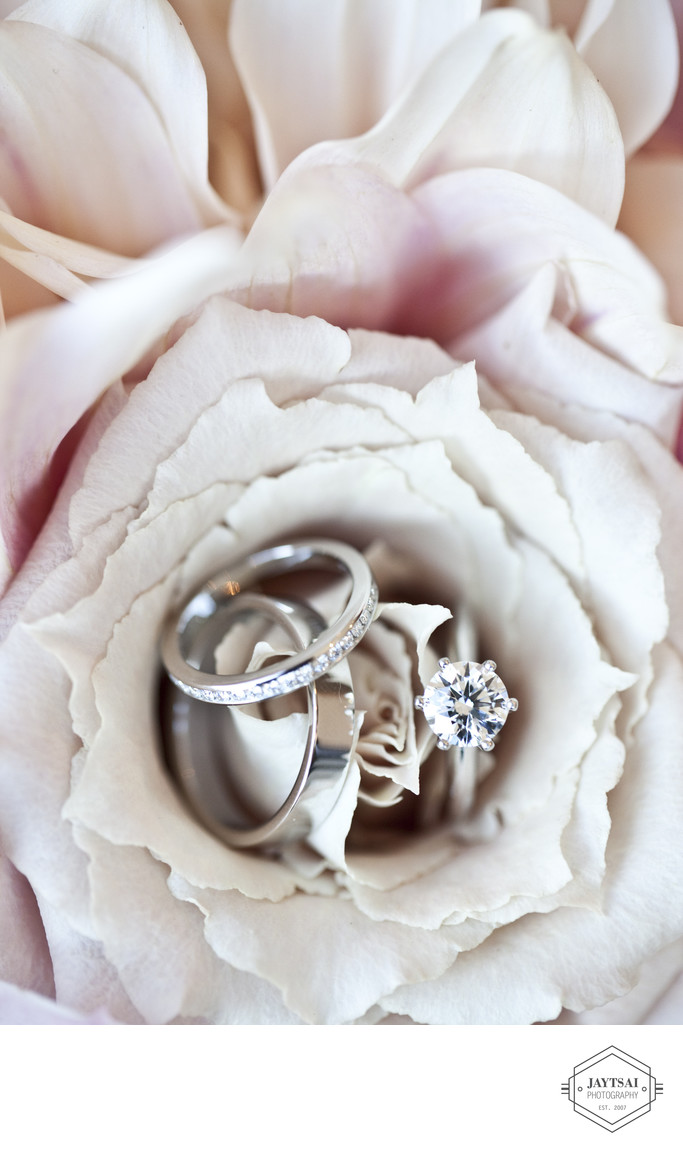 Diamond Engagement Ring and Wedding Bands in a Rose