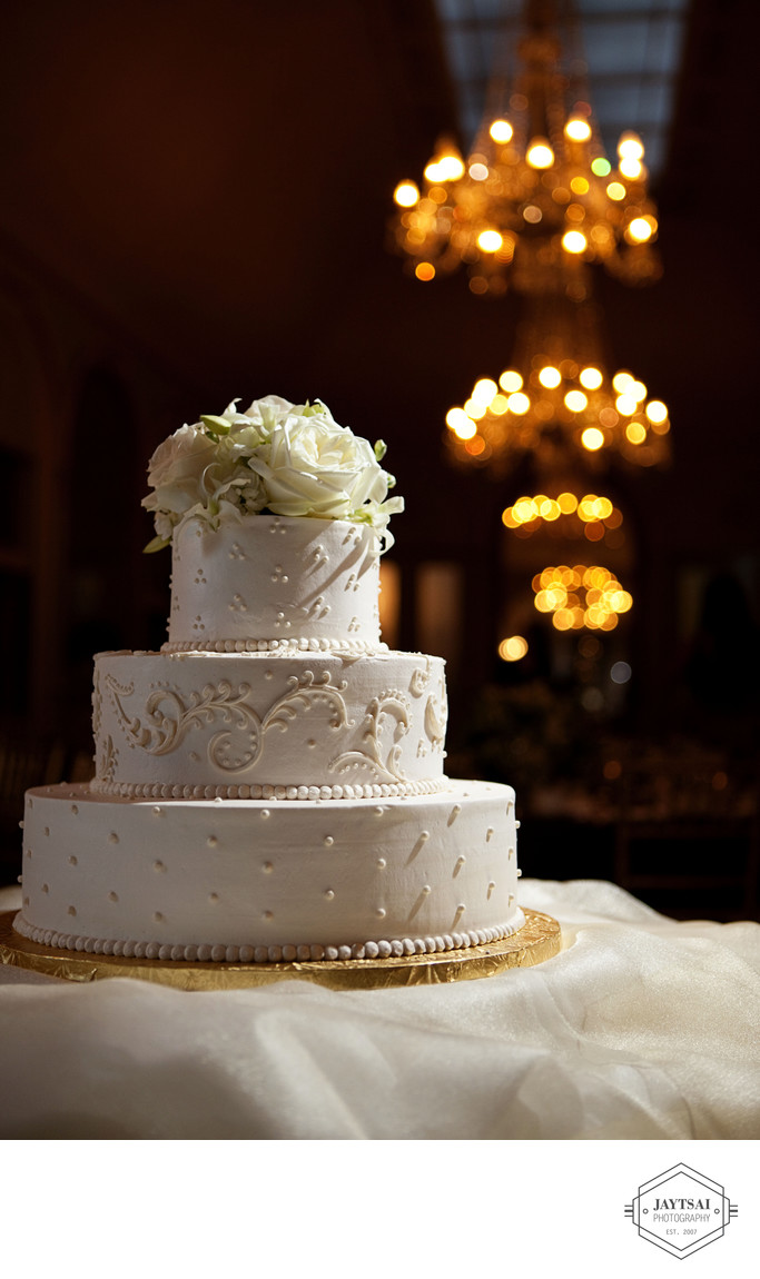 Wedding Cake and Chandelier