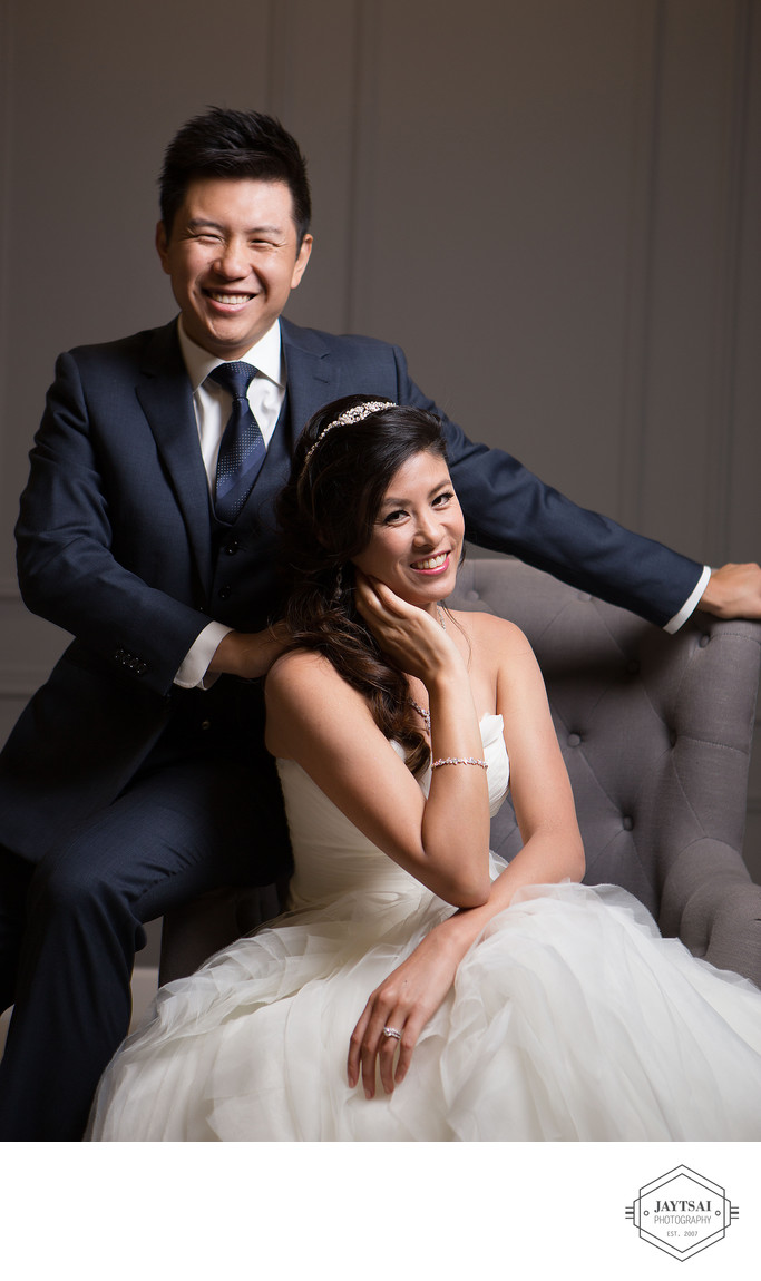 Couture Studio Wedding Portrait - Bride and Groom