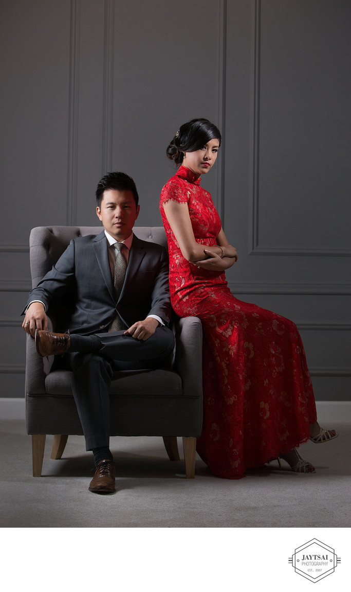 Fashion Studio Wedding Portrait - Bride and Groom