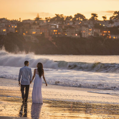 Romance Engagement Photography SF Baker Beach Sunset