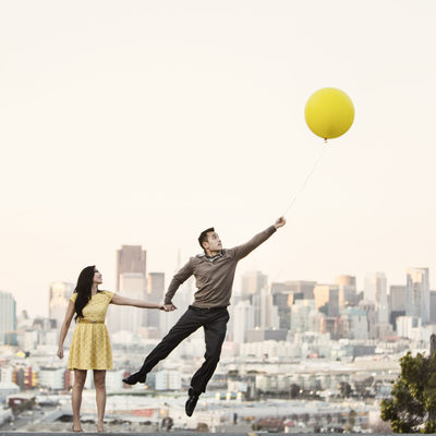San Francisco Engagement Photographer Balloon Movie Up