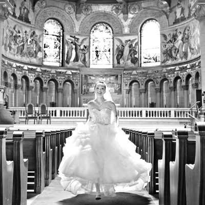 Stanford Memorial Church Bridal Running Down Aisle