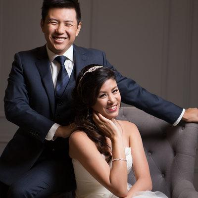 Couture Studio Wedding Portrait - Bride and Groom