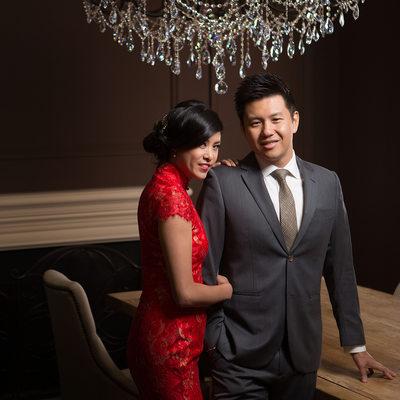 Glamour Studio Wedding Portrait - Bride and Groom
