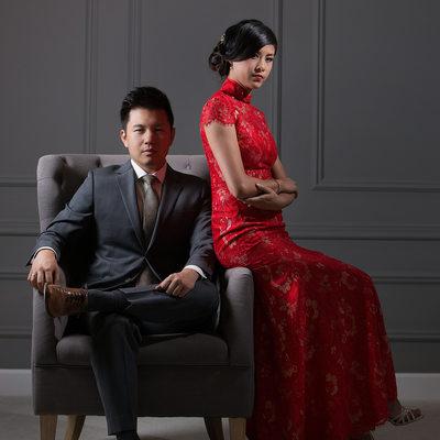 Fashion Studio Wedding Portrait - Bride and Groom