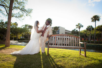 Bride and groom sunset photo sonesta resort hilton head