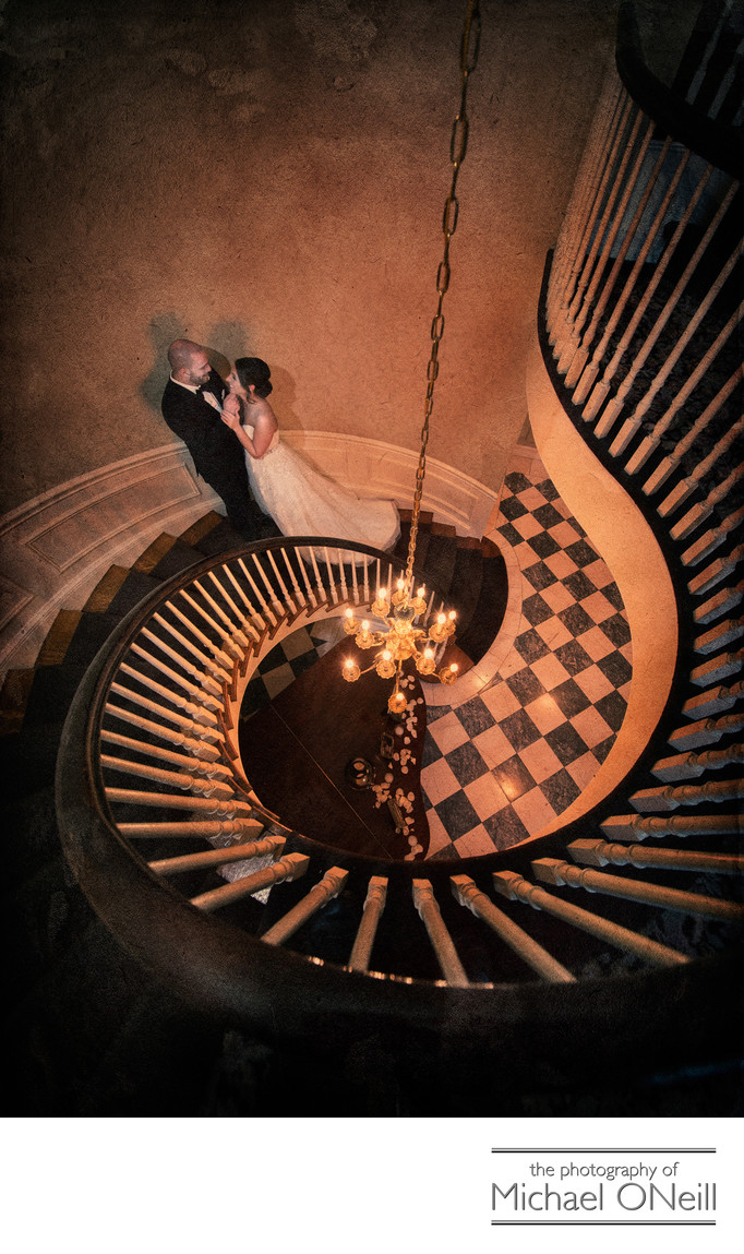 Circular Staircase Wedding Picture Royalton Mansion
