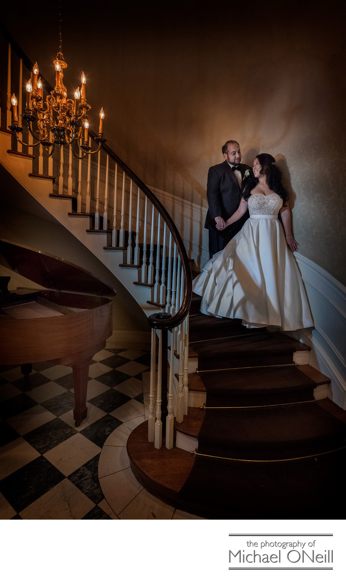 Royalton Mansion Roslyn LI Wedding Photos Staircase