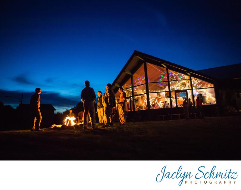 Tupper Lake Ski Lodge wedding lit up at night