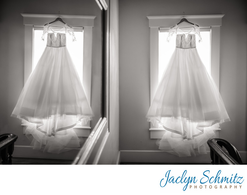 wedding dress reflection in mirror