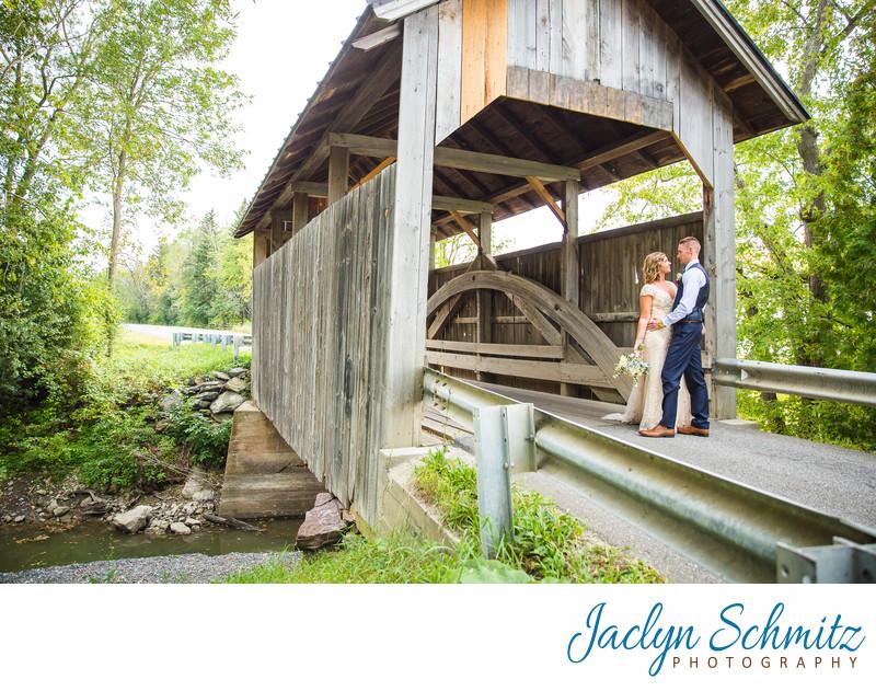 Vermont covered bridge wedding photos